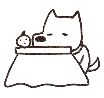 コタツでくつろぐ犬のイラスト(戌年)白黒線画