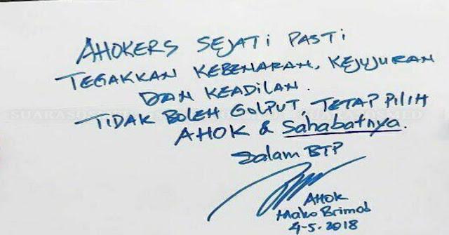 Terima Kasih Ahok !!, Suratmu Buat Ahoker Makin Yakin Pilih Sahabatnya Yaitu Jokowi