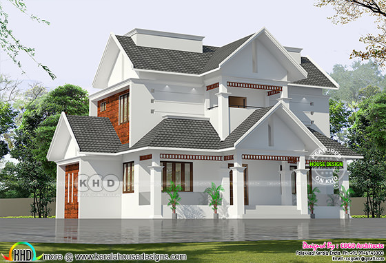 Sloping roof house plan