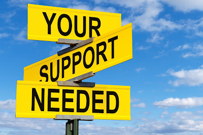 "graphic of 3 way sign that reads ""your support needed"""