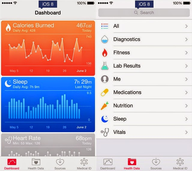 iOS 8 and iOS 7 OS 8 Health app
