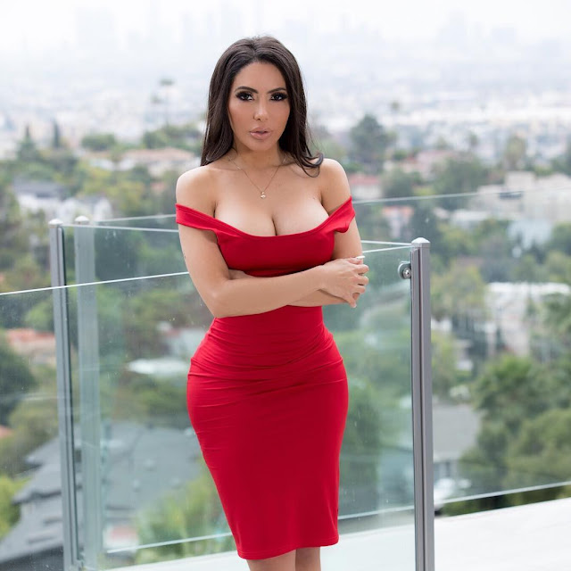 Lela Star in hot  red dress wallpapers