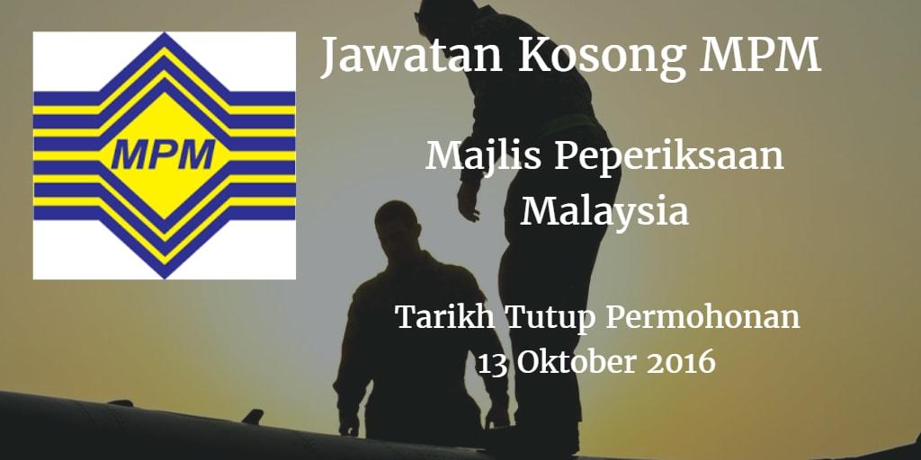 Jawatan Kosong MPM 13 Oktober 2016