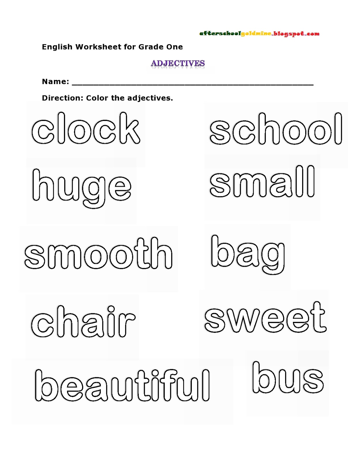 Adjective For Grade One