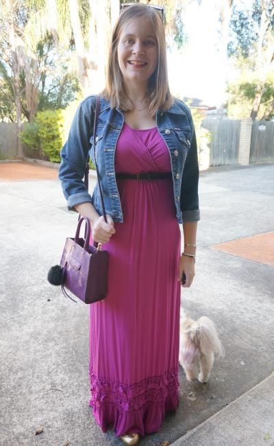 AwayFromBlue | Mothers En Vogue nursing dress denim jacket easy breastfeeding outfit