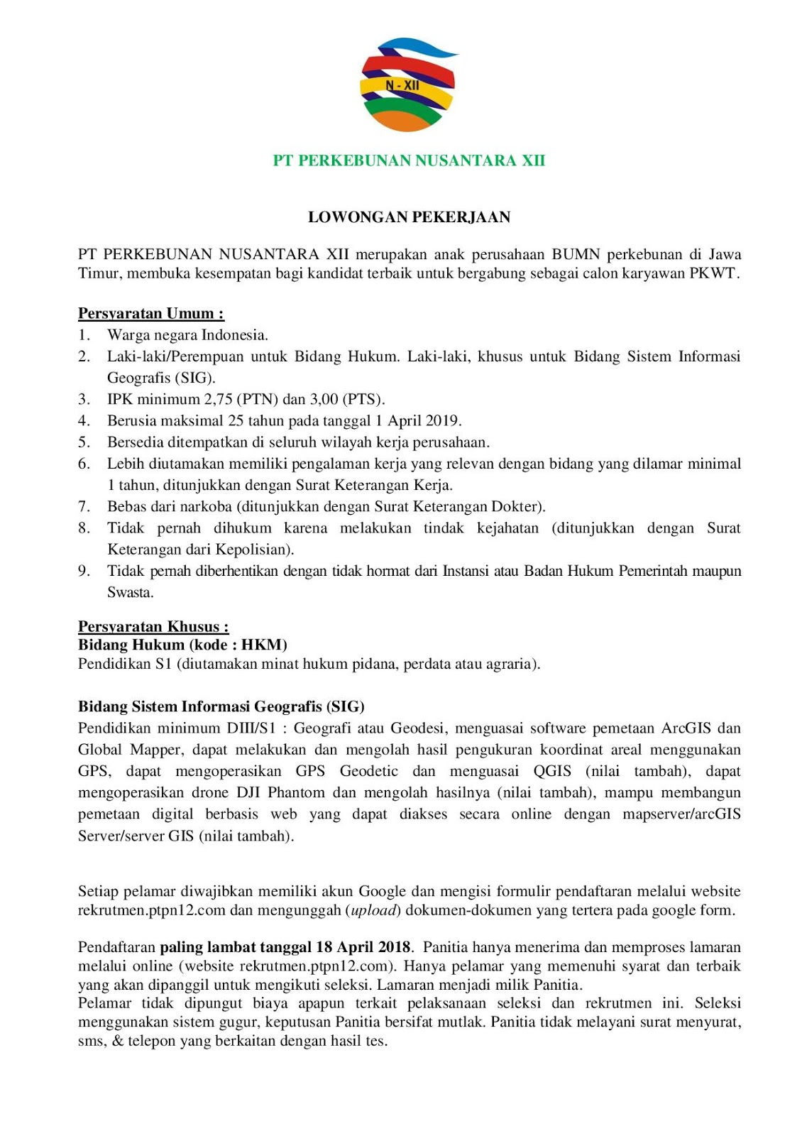 Lowongan Kerja PT Perkebunan Nusantara XII (Persero) April 2019