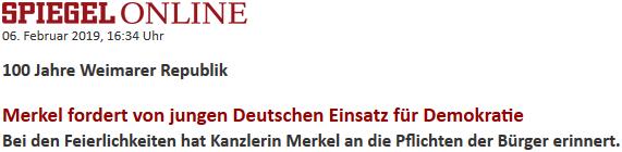 Bei den Feierlichkeiten hat Kanzlerin Merkel an die Pflichten der Bürger erinnert.