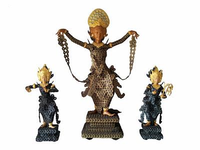 bali dancer sculpture made from coin