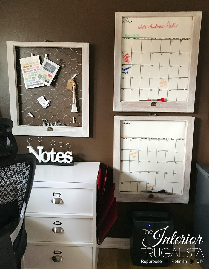 Old Window Dry Erase Calendars and Note Board