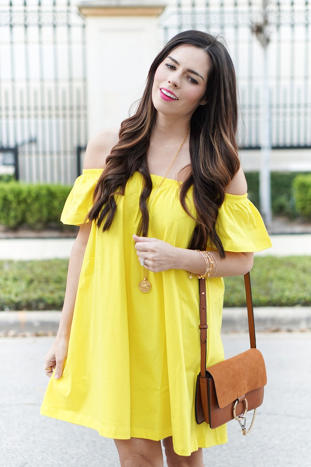 Off the shoulder yellow dress - Flaunt and Center