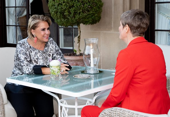Princess Stephanie wore a blue jersey cotton nautical anchor dress by Ralph Lauren. Maria teresa wore Elie Saab printed silk blouse
