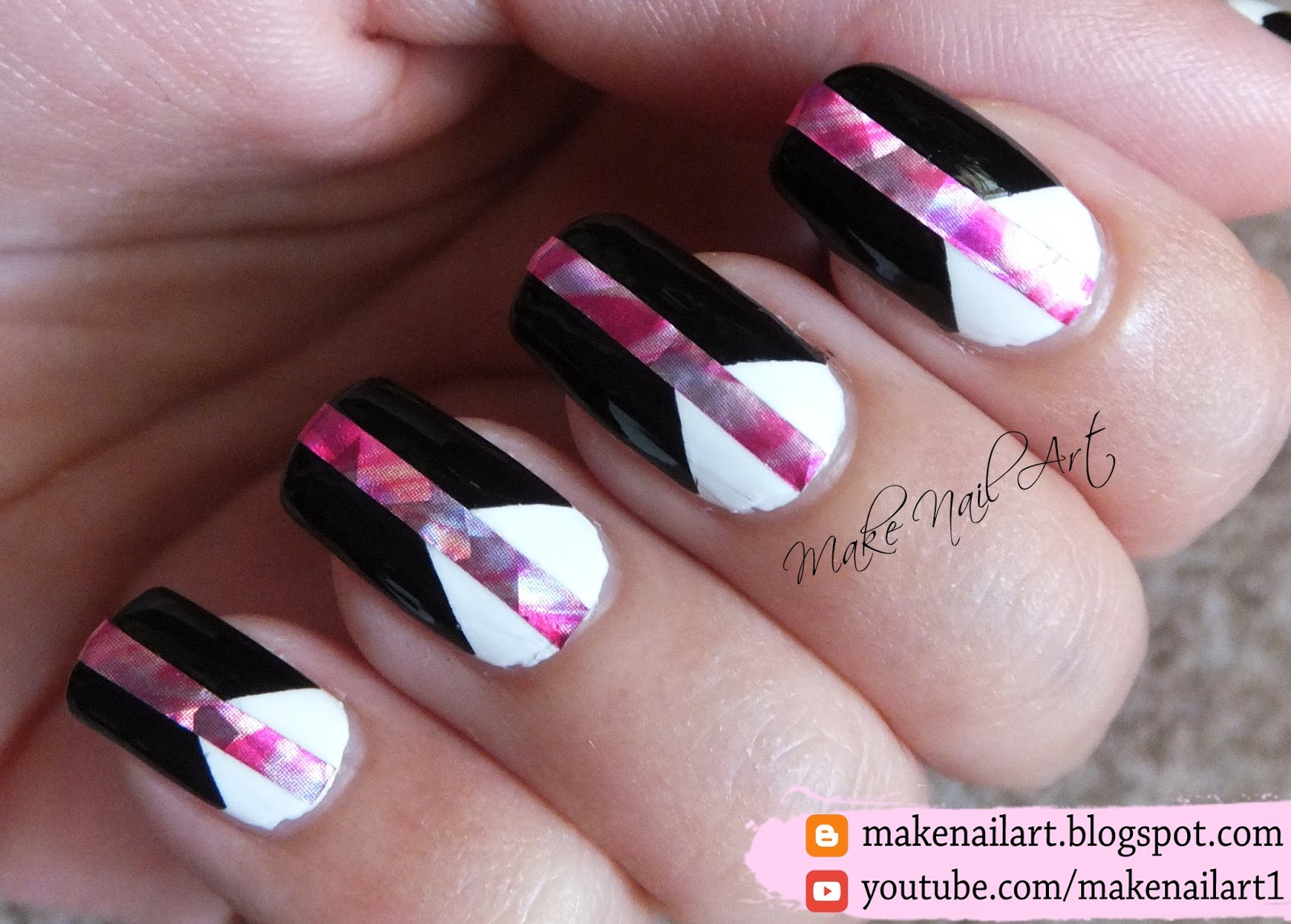 Make Nail Art: Easy Black And White Nails With Holographic Accent ...