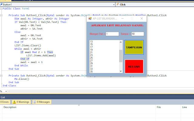 Cara Membuat Aplikasi List Bilangan Ganjil VB.NET