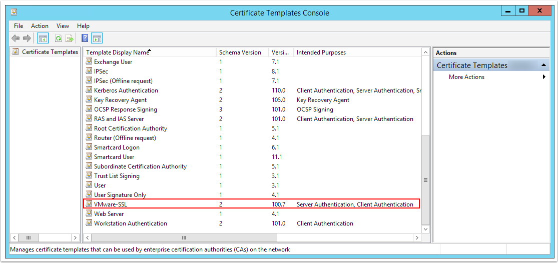eye tee: Certificate Templates not appearing in Windows Server 2012