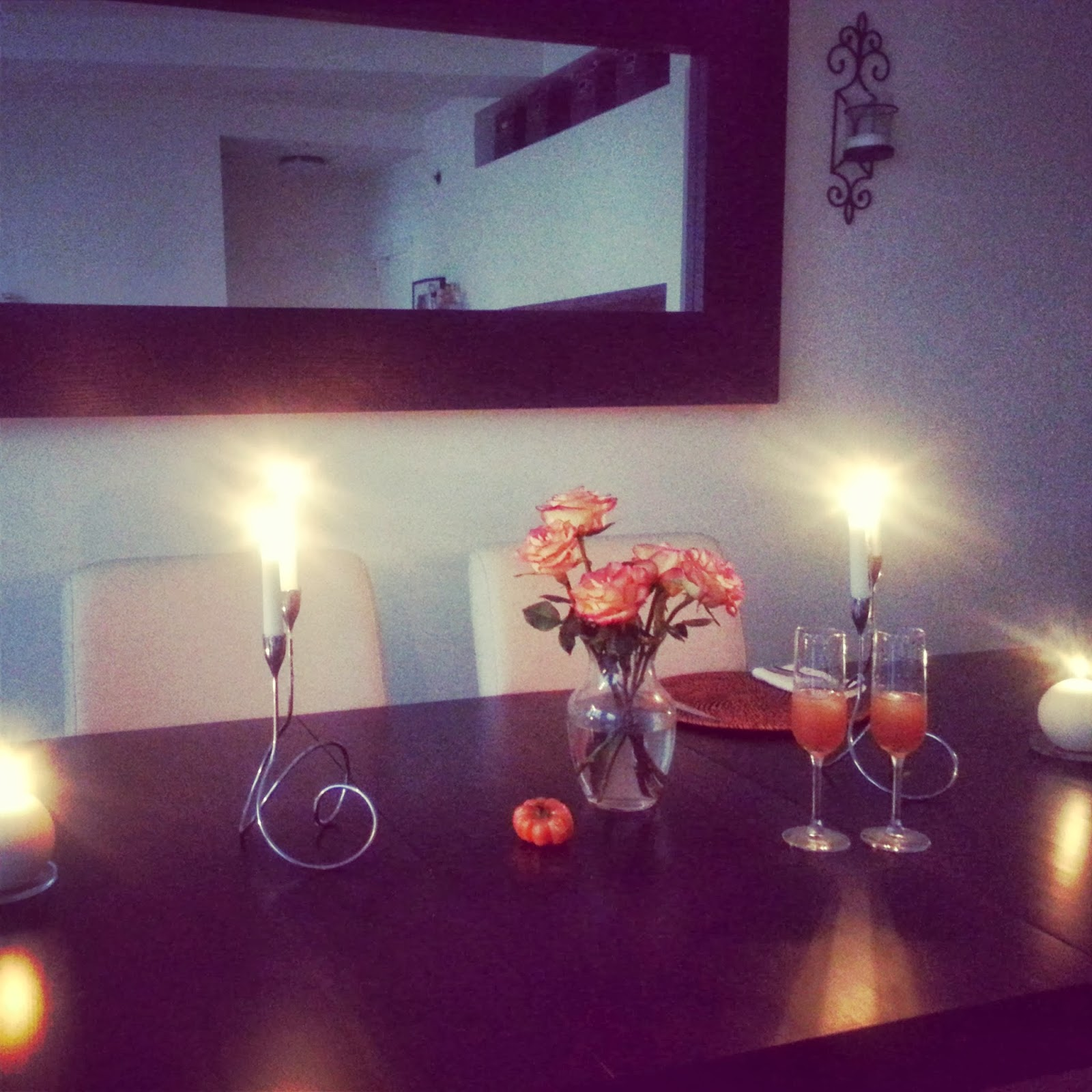 Orange roses, Derby cocktails, and candlelight  |  Easing into winter  |  http://afeatherynest.blogspot.com
