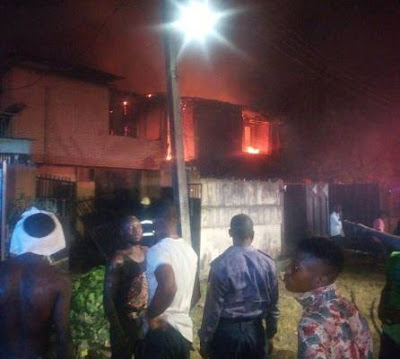 Fire engulfed and burnt three duplexes in Gowon Estate Lagos
