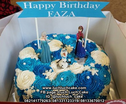 Kue Tart Ulang Tahun Frozen Elsa, Anna dan Olaf