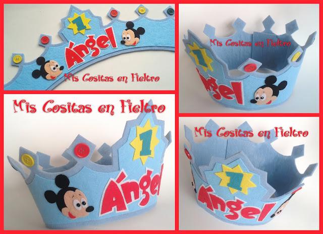 corona de cumpleaños, niños, corona de fieltro, fiesta, felt crown, coroa, feltro, aniversario, Mickey, mickey mouse, disney
