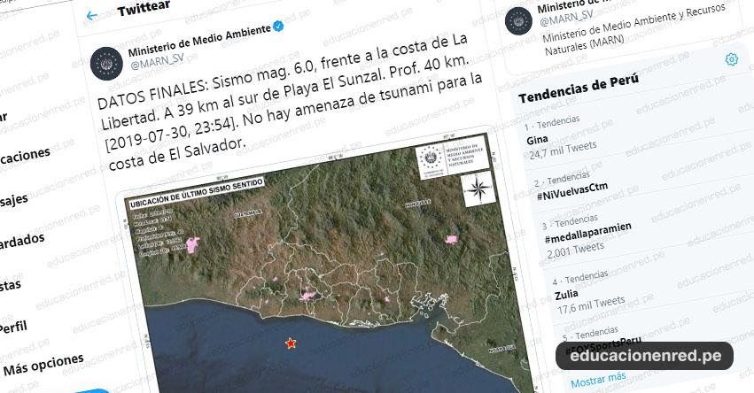 Terremoto en El Salvador de Magnitud 6.0 y Alerta de Tsunami (Hoy Miércoles 31 Julio 2019) Sismo, Temblor, EPICENTRO, Costas de La Libertad, Playa El Sunzal, En Vivo Twitter, Facebook, www.marn.gob.sv