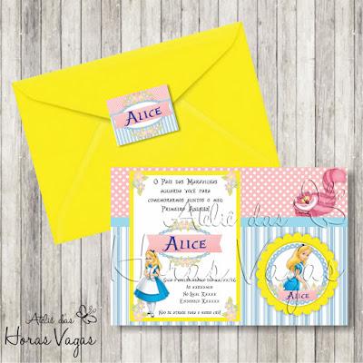 convite aniversário infantil personalizado digital Alice no País das Maravilhas menina bebê 1 aninho festa envelope adesivo tag