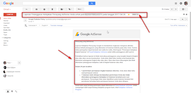 Cara mengatasi Peringatan Policy center (Copyrighted material: Unauthorized Filesharing) di Google Adsense