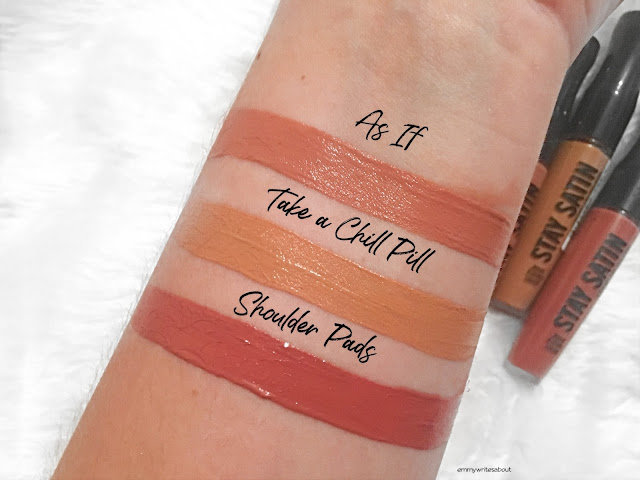 Rimmel Stay Satin Lip Swatches As If, Rimmel Take a chill pill swatch, rimmel shoulder pads swatch