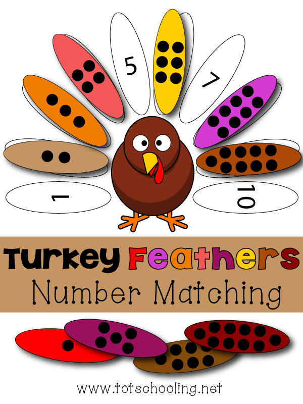 FREE turkey themed number and counting matching game. Great Thanksgiving math activity for toddlers and preschoolers.