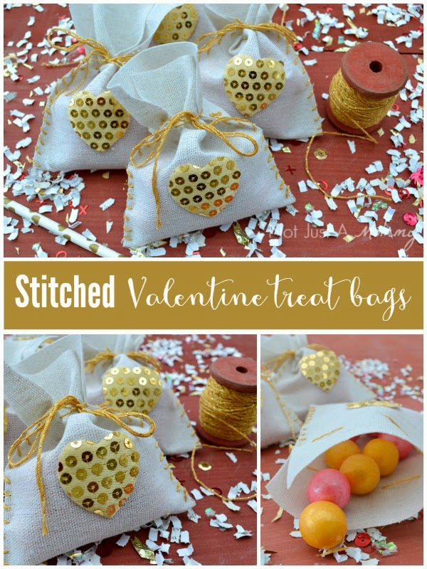 stitched Valentine treat bags collage