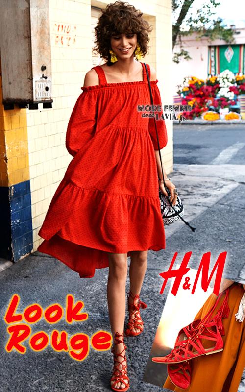 Robe courte rouge à manches 3/4 H&M