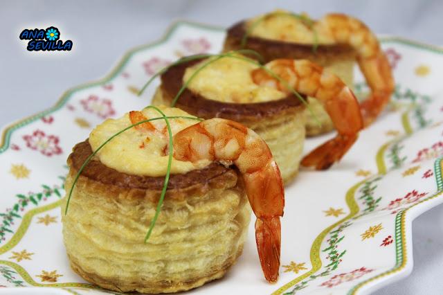 Volovanes de pollo y langostinos Ana Sevilla cocina tradicional