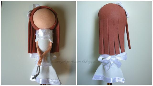 Vestido fofulapiz Niña comunion con cintas de tela