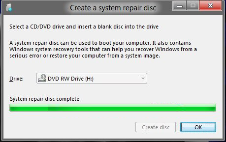 windows 8 recovery disc creation completed
