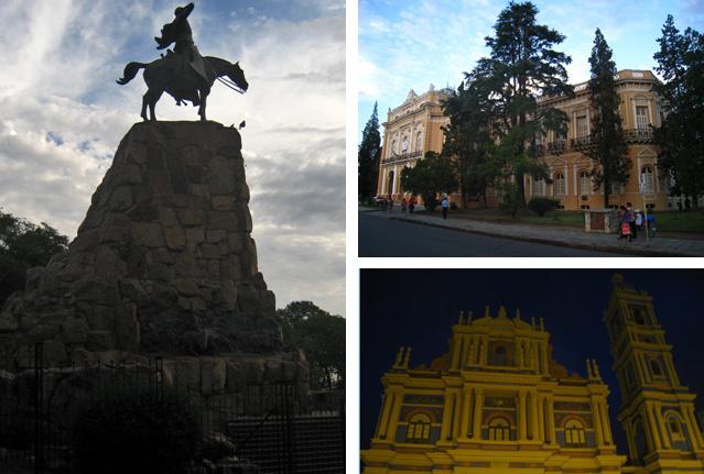 Monumento al General Güemes (izda.), Palacio Legislativo (dcha., arriba) e iglesia de la Viña