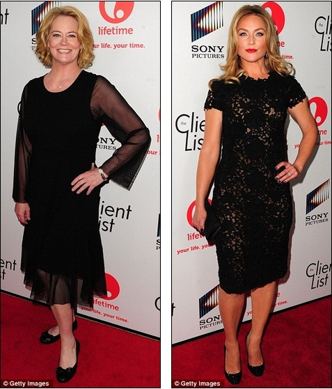5628bc9b9 Beauties wearing black: Cybil and actress Elisabeth Rohm both wore  sophisticated black dresses for the TV event