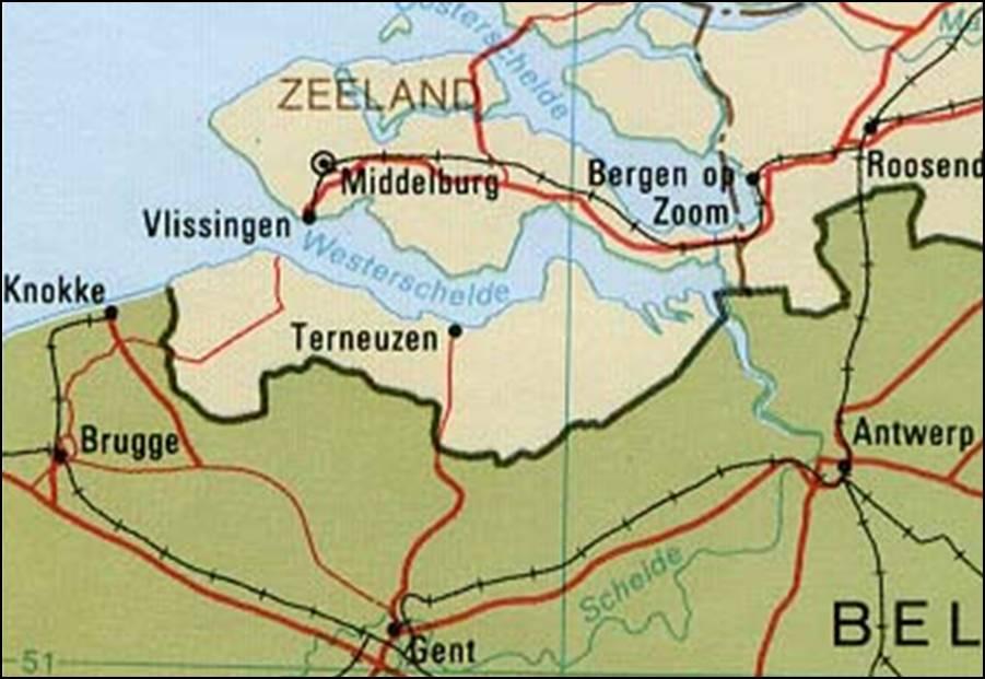 Zeeuws Vlaanderen Kaart Kaart Zeeuws Vlaanderen Vakantie Zeeland