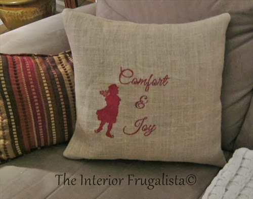 Vintage female skater silhouette on easy DIY burlap pillow