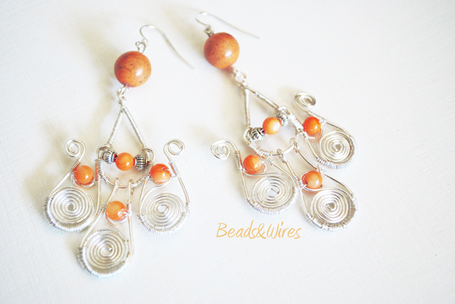 orange earrings beads and wires