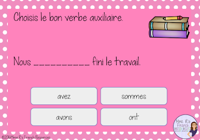 Digital task cards from Boom Learning for practicing the passé composé with avoir and être
