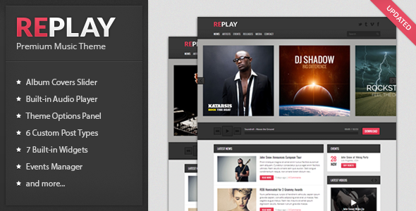 Wordpress Replay Responsive Music Theme Free Download