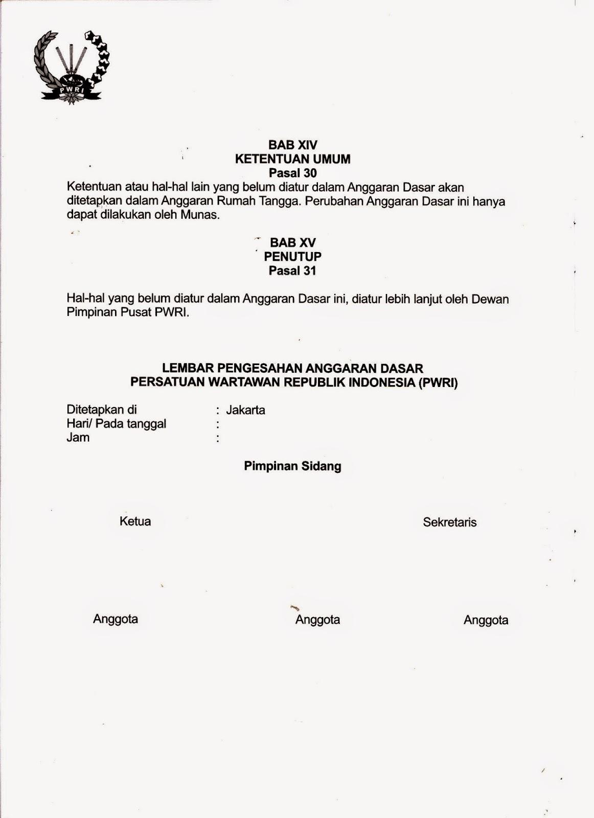 Pwri Kota Bekasi Anggaran Dasar Anggaran Rumah Tangga Pwri