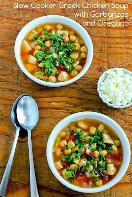 Slow Cooker Greek Chicken Soup with Garbanzos and Oregano