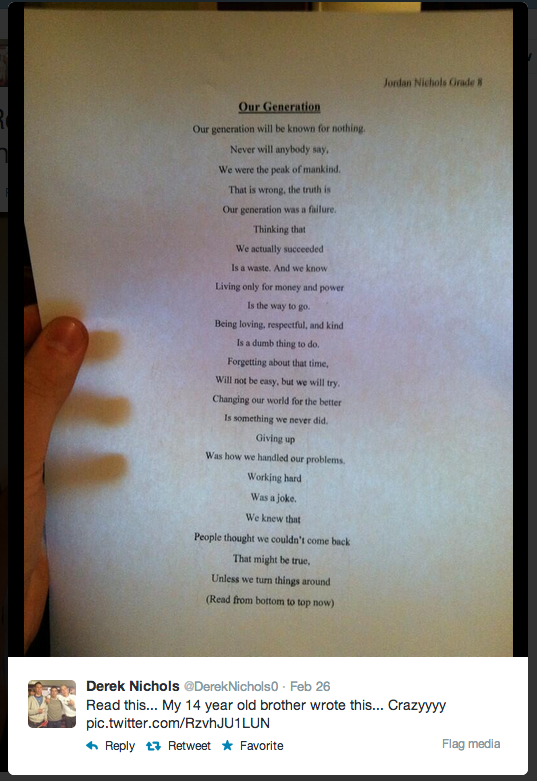 This 14-Year-Old Boy Just Wrote The Most Important Poem Of The 21st Century