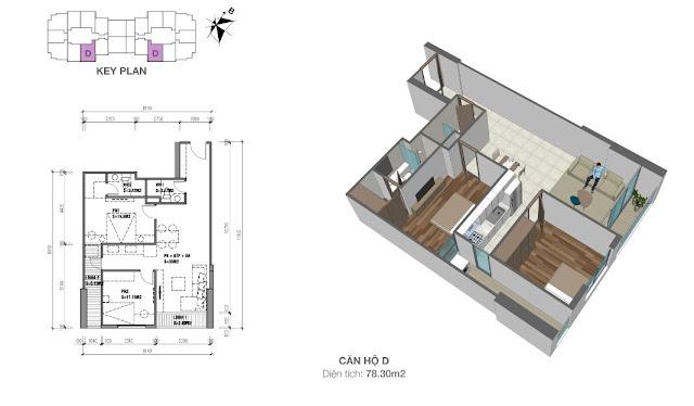 Thiết kế căn hộ loại D - 78,3m2 - 2PN, 2VS chung cư Eco Dream City
