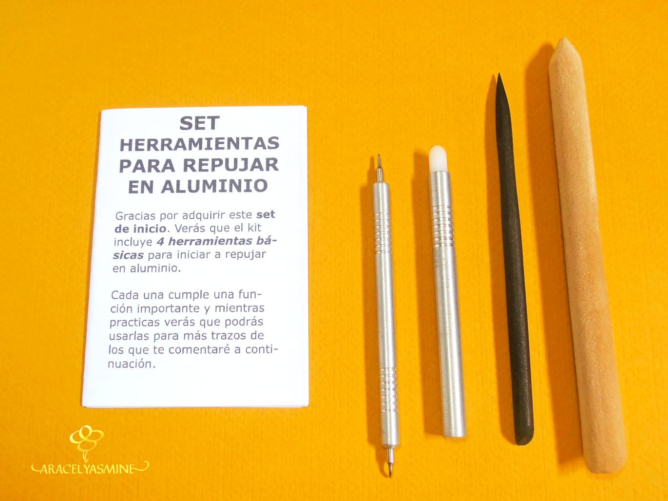 kit set herramientas para repujar en aluminio basico