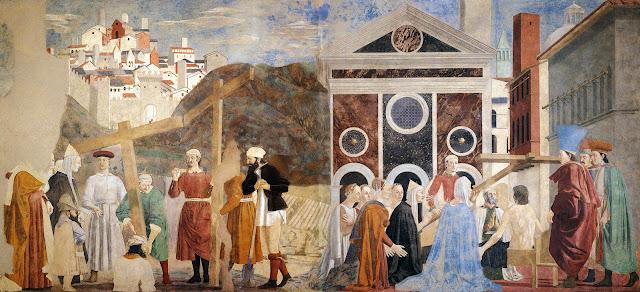 Η εύρεση και η αναγνώριση του Τιμίου Σταυρού, τοιχογραφία, 1452-66, Piero della Francesca, Arezzo. http://leipsanothiki.blogspot.be/