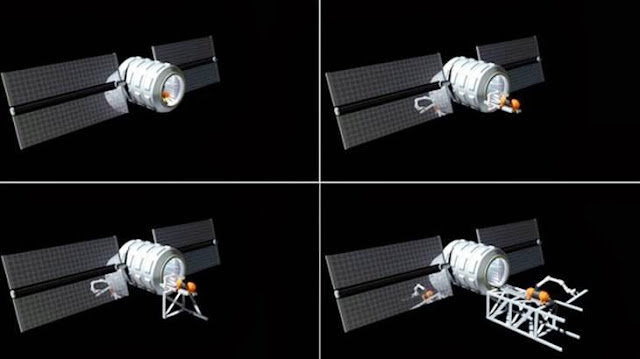 "First steps in the ""Stairway to Mars"": This sequence of four images shows the start of construction of a docking truss for a way station at a stable gravitational point between Earth and the moon, known as Earth-Moon L1. A construction robot and all parts for the truss, rails and in-vacuum docking positions are inside the cargo capsule when it arrives at L1. The robot emerges and assembles the truss, attaches its own rails as it goes, and then attaches the docking positions along the truss. Credit: John K. Strickland"