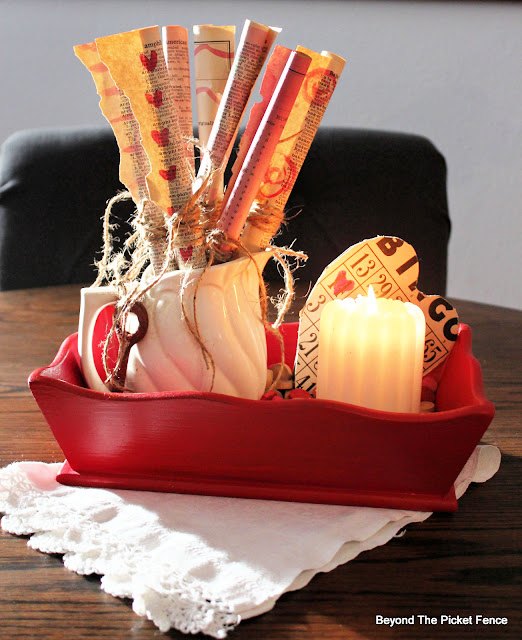 DIY centerpiece for Valentine's Day made from thrift store finds