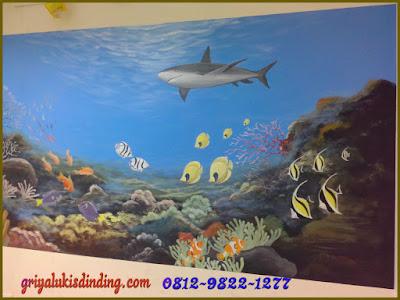 Lukis dinding pemandangan bawah laut