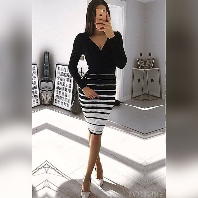 Μακρυμάνικο μεσάτο μαύρο φόρεμα ANIKA BLACK