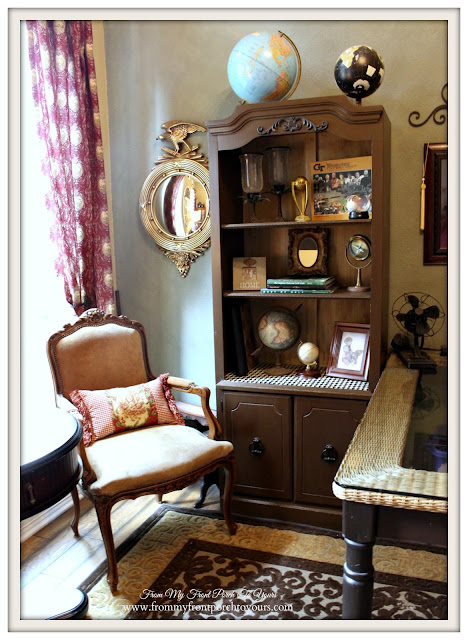 Up cycled Bookcases-Globes-Federal Mirror-French Country Home Office- From My Front Porch To Yours